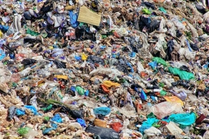 Piles of excessive household rubbish in landfill